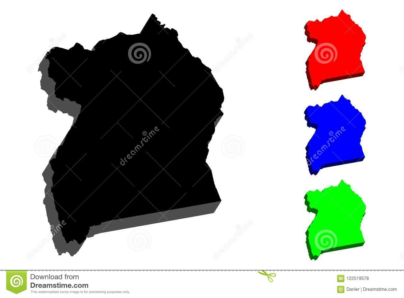 3D map of Uganda stock vector. Illustration of country - 122519578