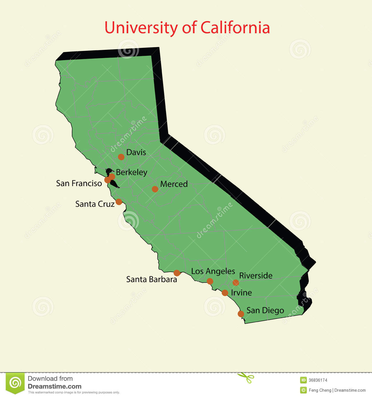 3d Map Of University Of California Campuses Stock Images Image 36836174