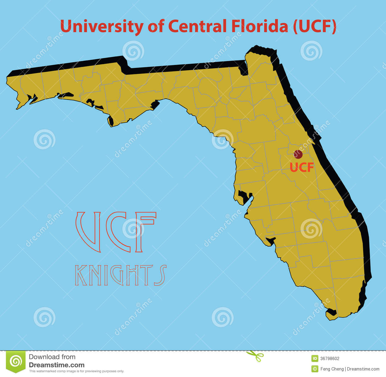 University Of Florida Location Map.The 3d Map Of The University Of Central Florida Stock Vector