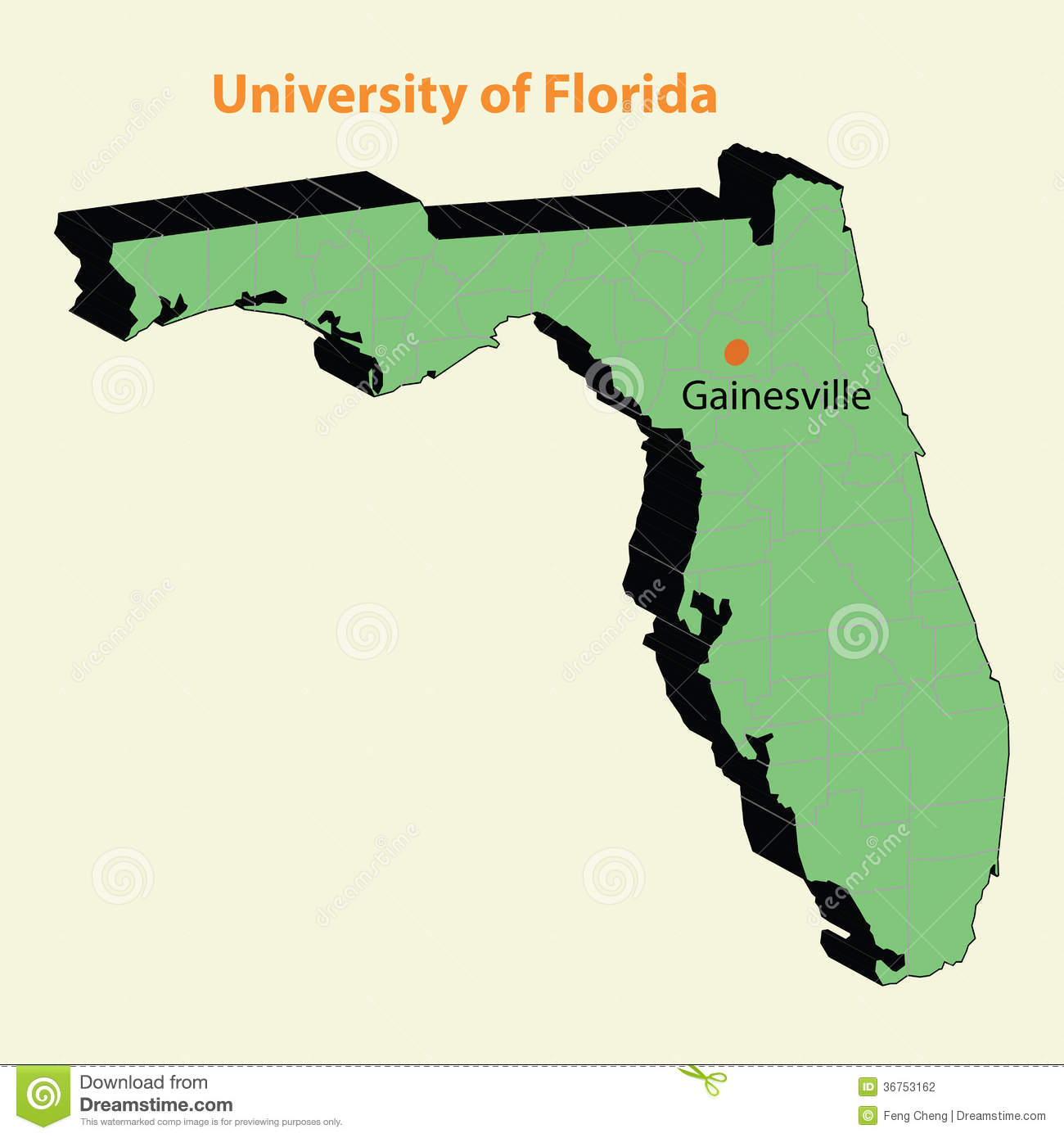 University Of Florida Location Map.3d Map University Of Florida Uf Ufl Gainesville Stock Vector