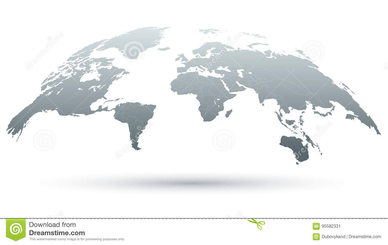 Map Of The World 3d.3d Map Of The World In Grey Stock Vector Illustration Of