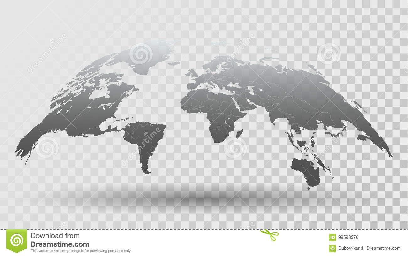 3d map of the world on transparent background royalty free vector