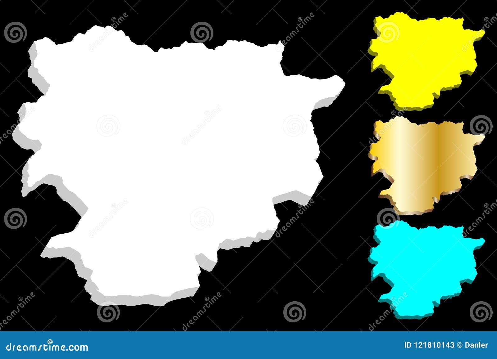 3D mapa Andorra