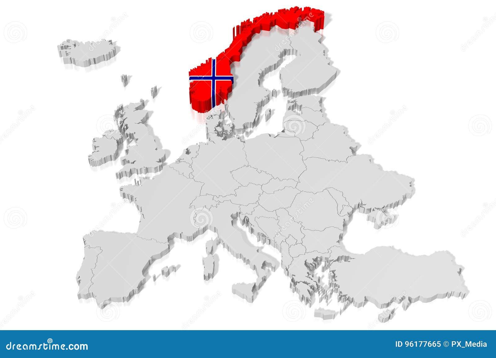 3D mapa, bandera - Noruega