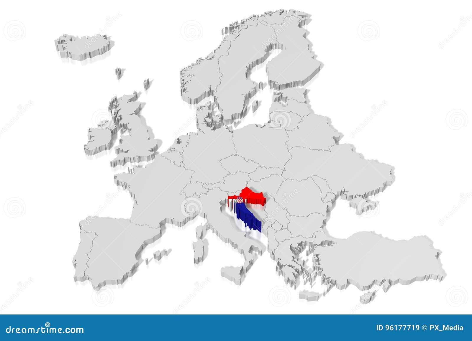 3d Mapa Flaga Chorwacja Ilustracji Ilustracja Zlozonej Z