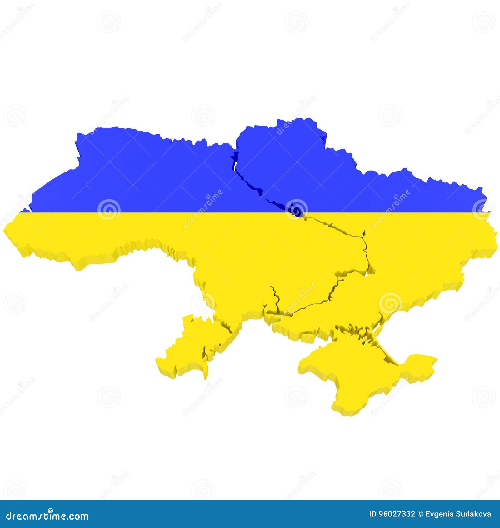 3D mapa Ukraina z chorągwianymi kolorami 3d ilustracja, odizolowywająca na bielu