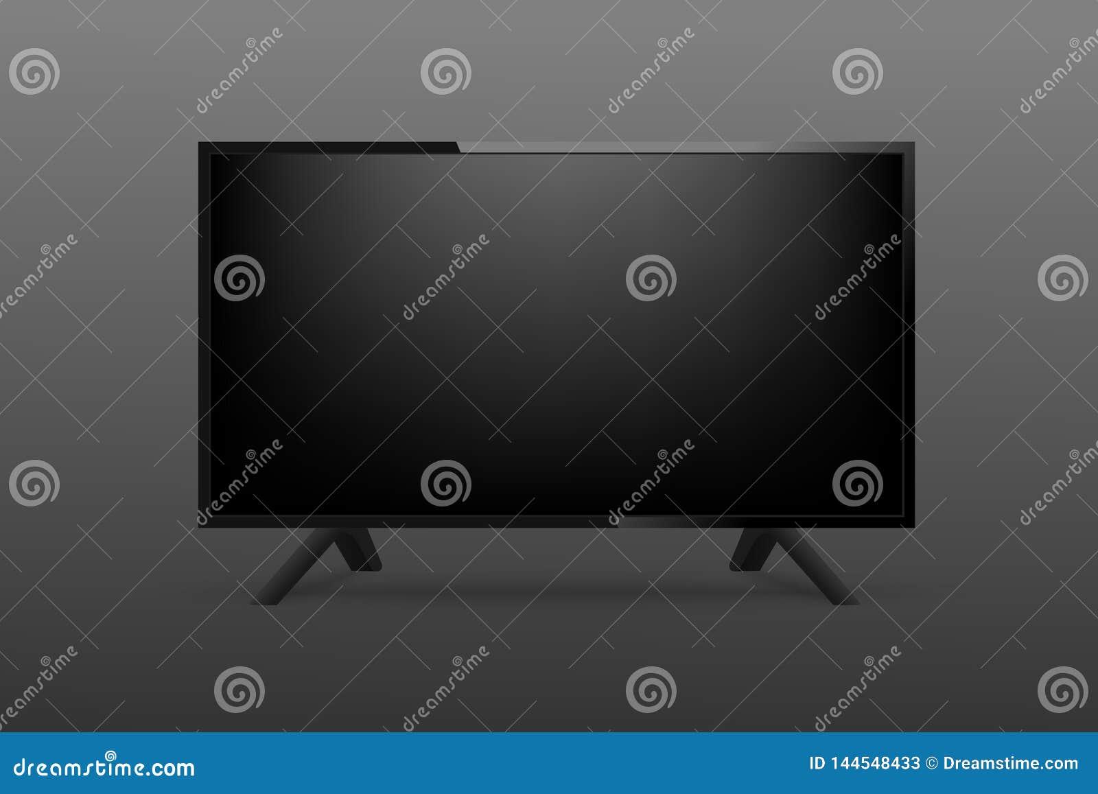 3d maqueta realista TV en fondo negro Vector