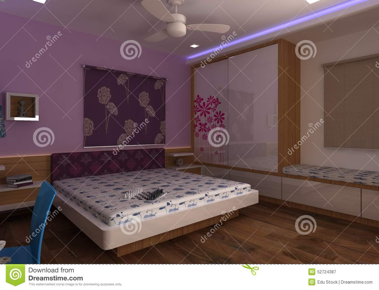 3d master bedroom interior design stock illustration