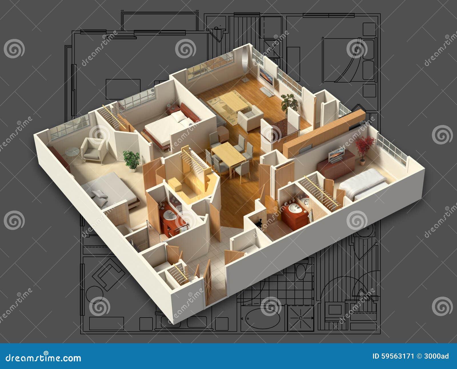 3D Meblujący Domowy wnętrze na projekcie