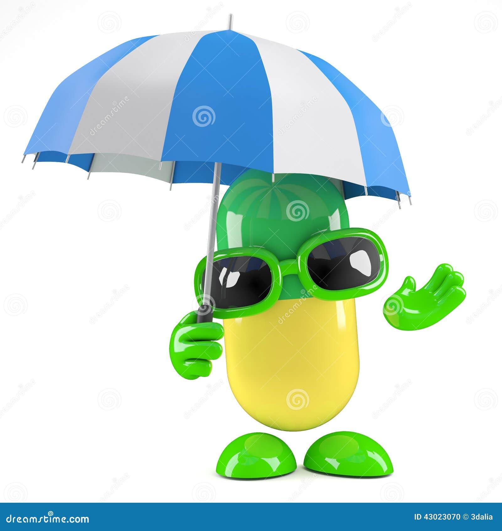 3d medycyny kapsuła trzyma parasol