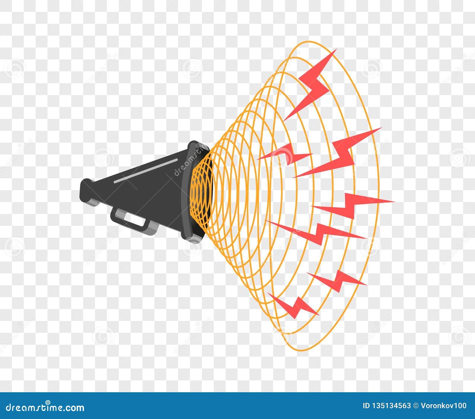 3D megafoon hailer, luid sprekend om te draaien De correcte golven worden geleid Vectorontwerpelement, pictogram op geïsoleerde a