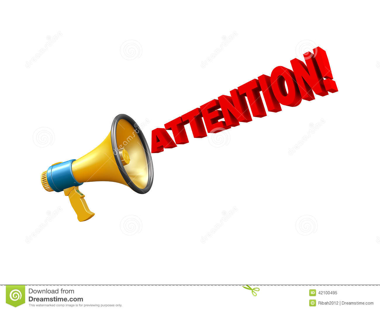 3d Megaphone Attention Alert Stock Illustration - Image: 42100495