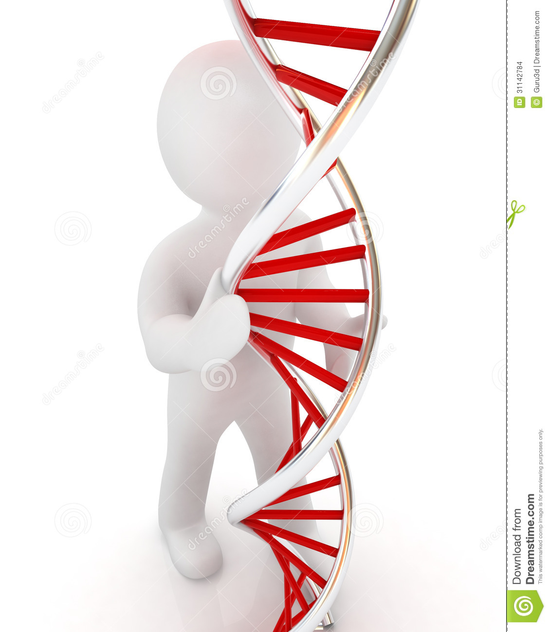 3d Men With DNA Structure Model Stock Illustration