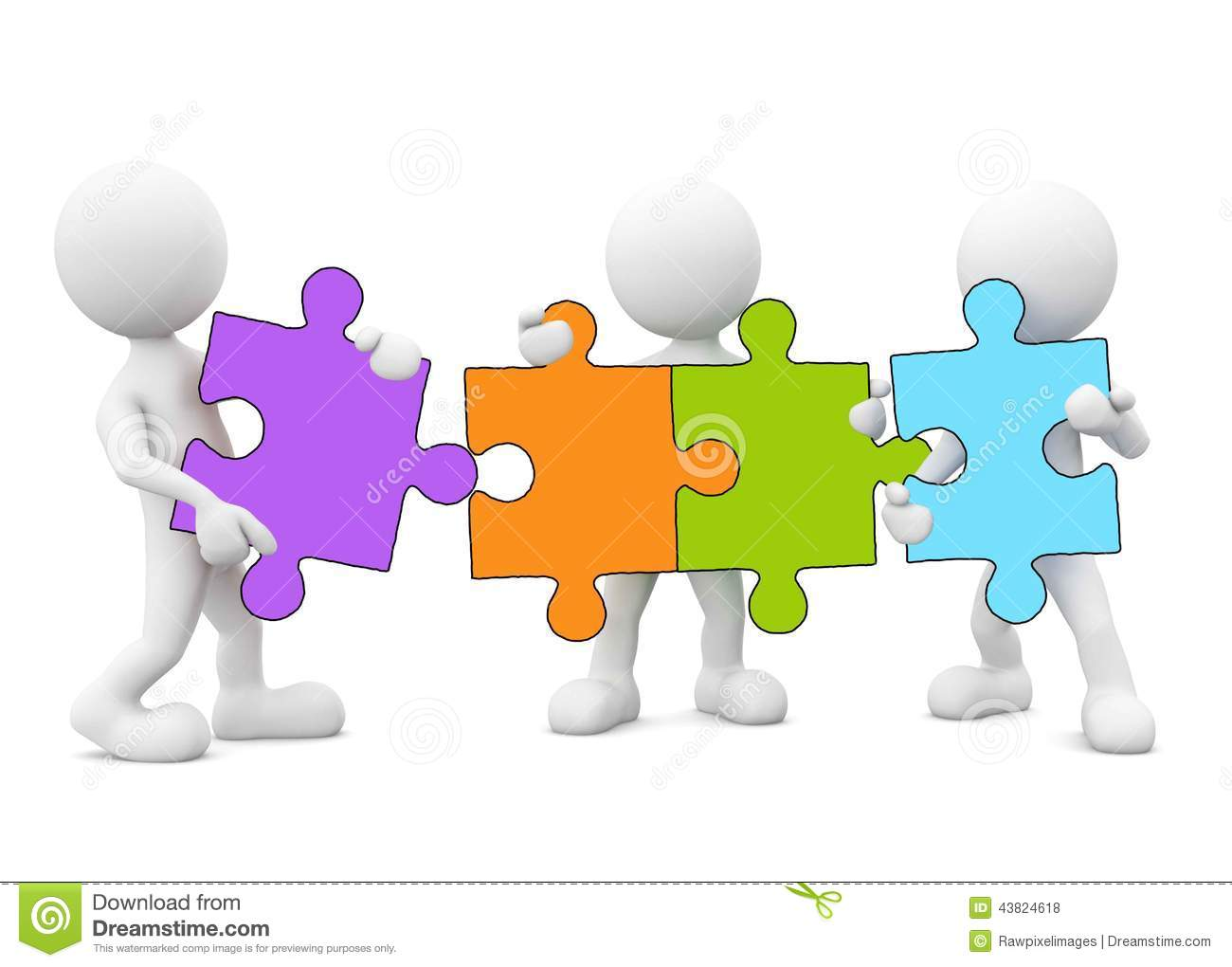 3d Men Holding And Forming Jigsaw Puzzles Stock