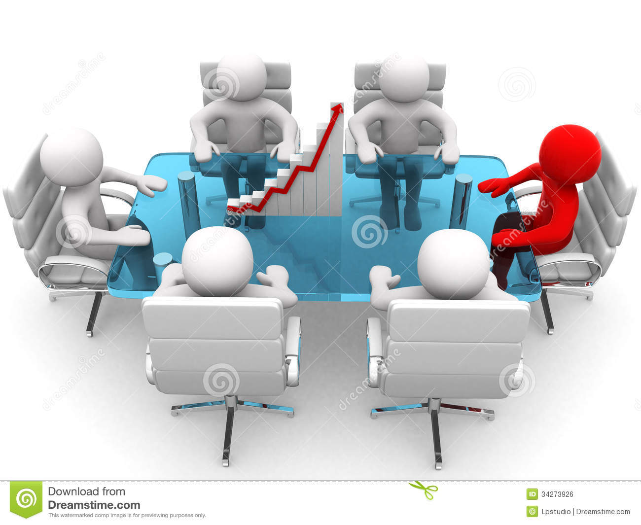 3d men sitting at a table and having business meeting
