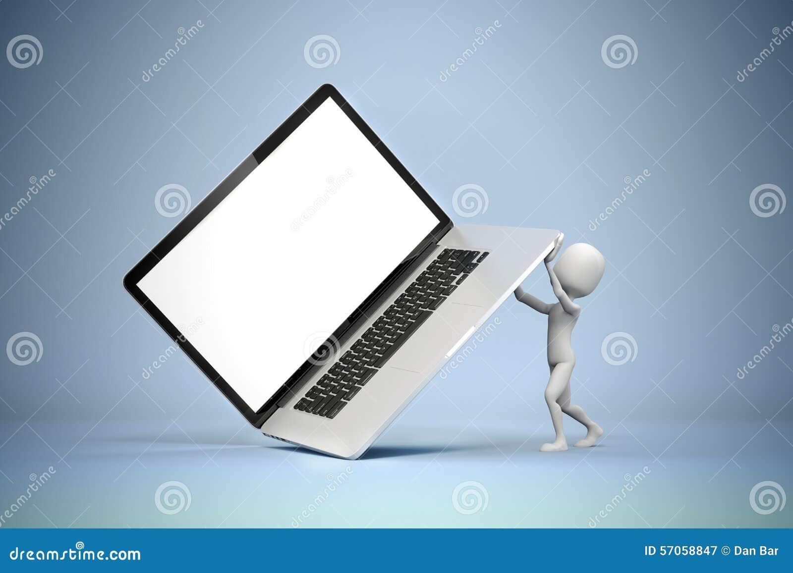 3d mens die grote laptop houden
