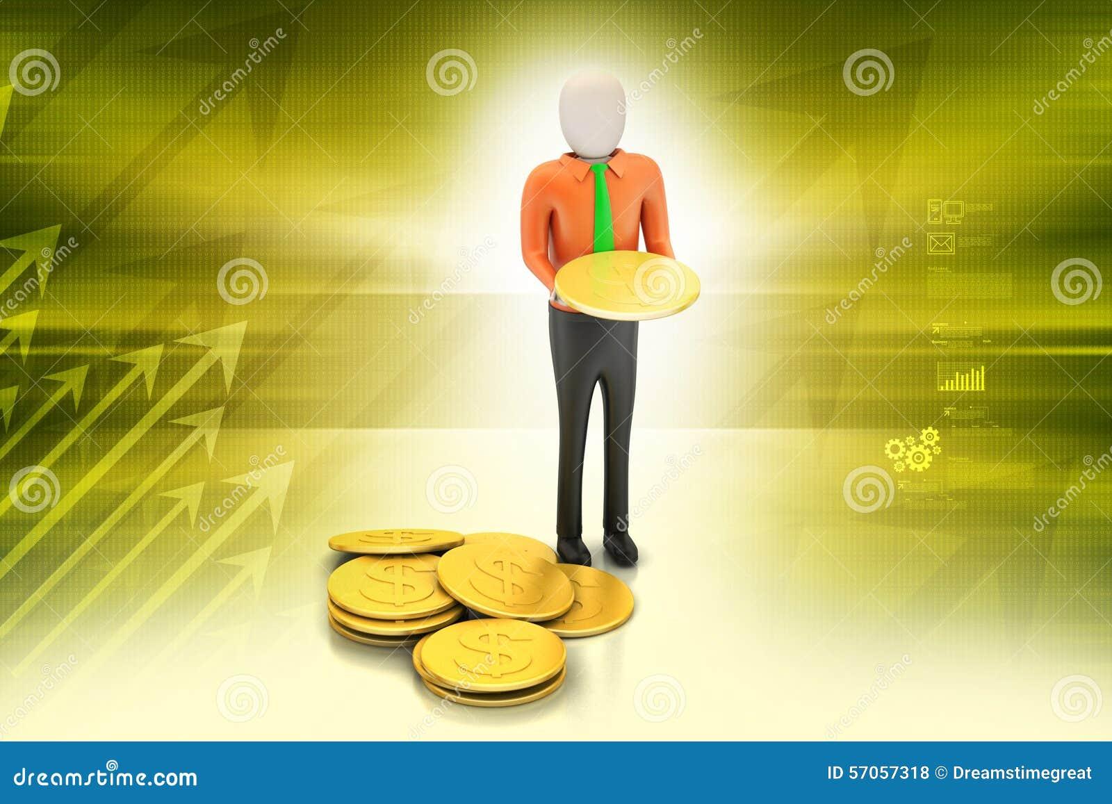 3d mens met gouden muntstukken