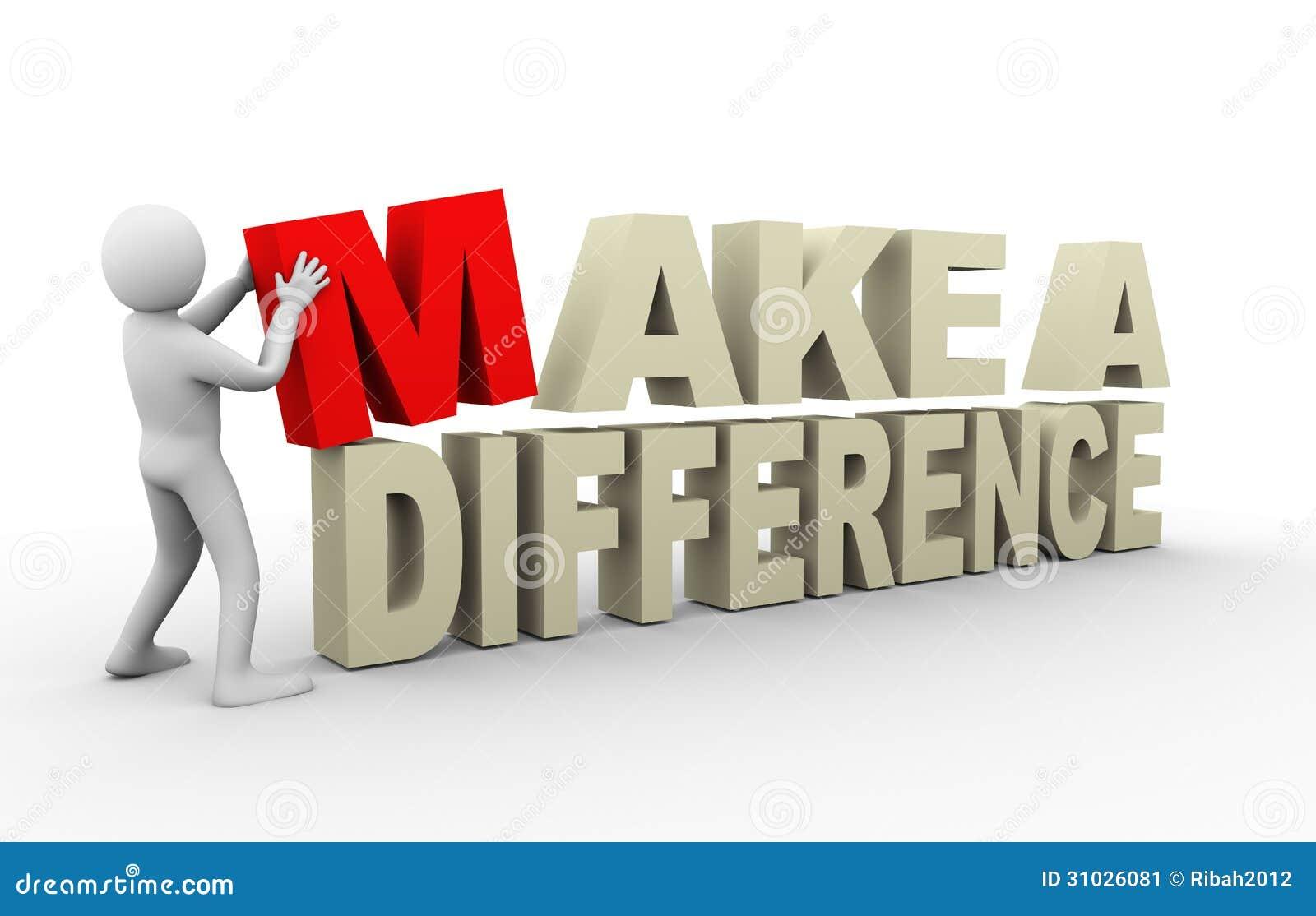 3d mens met maakt een verschilcitaat