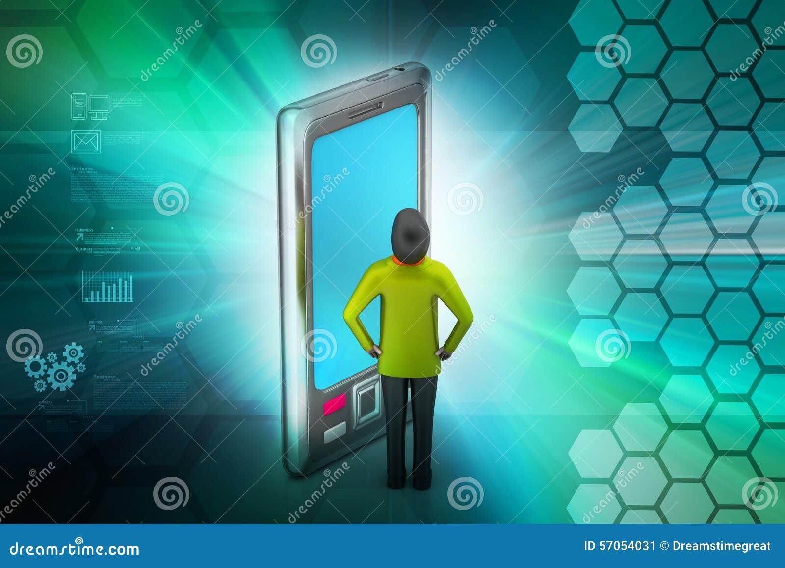 3d mens met tabletcomputer