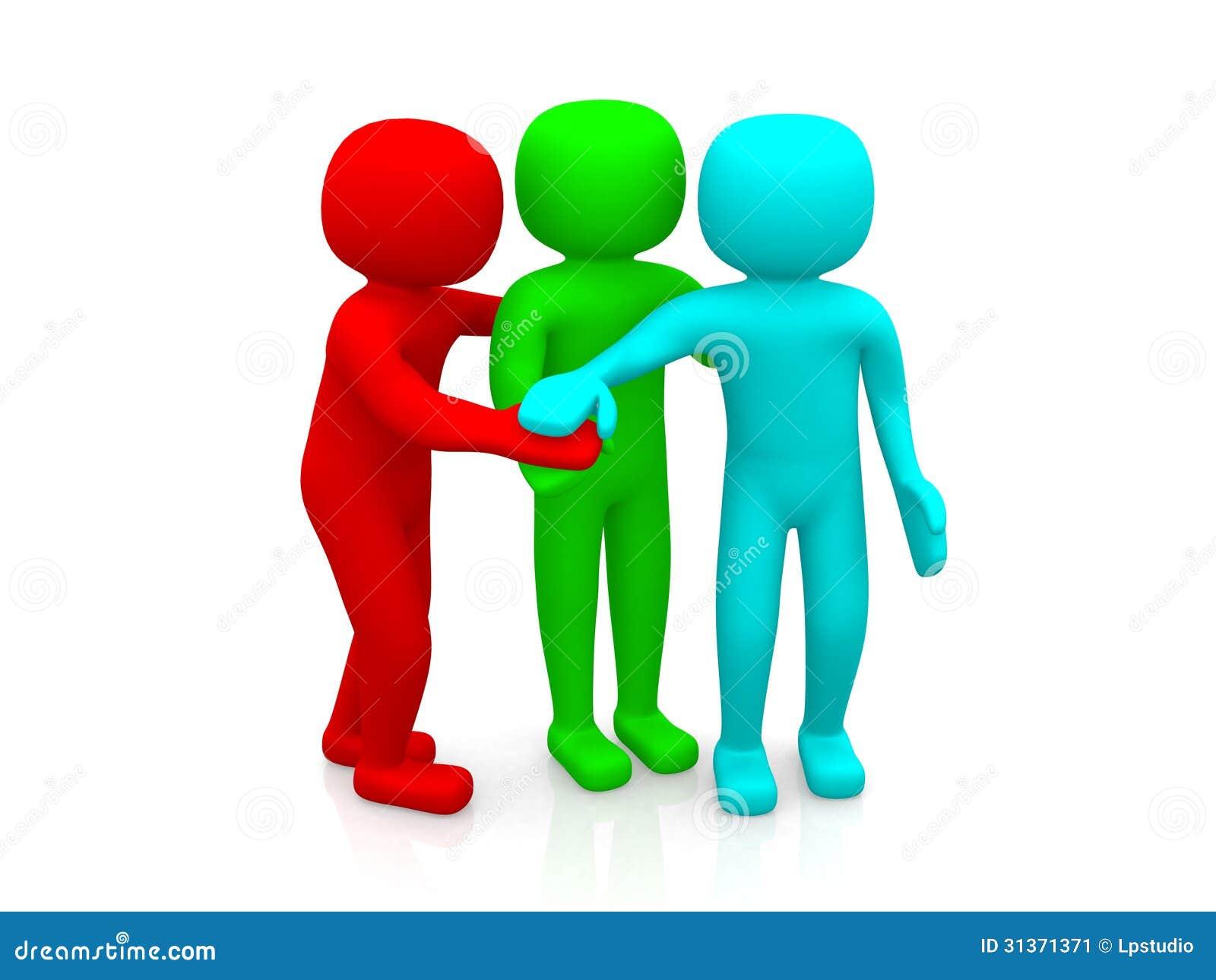 3d mensen samen. Het commerciële team toetreden handenconcept