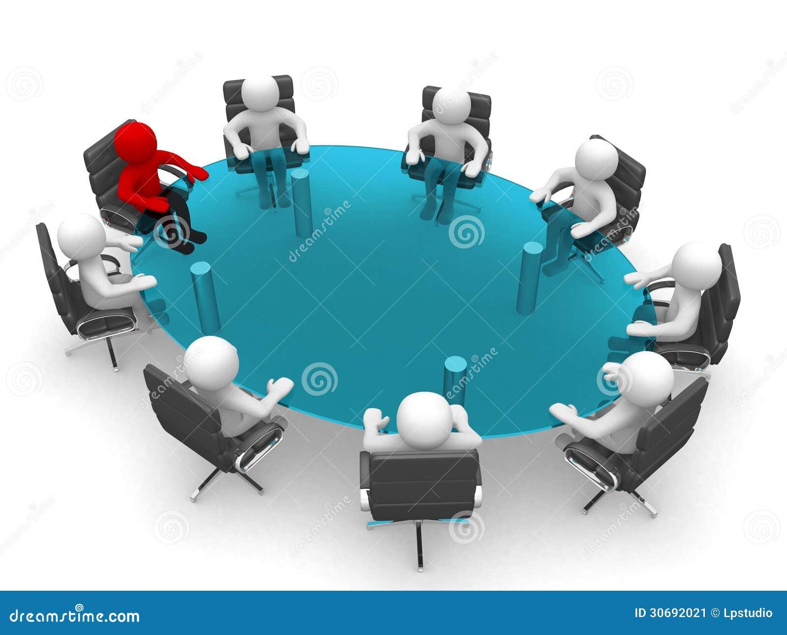 3d mensenzitting bij een rondetafel en het hebben van - Que es mesa redonda ...