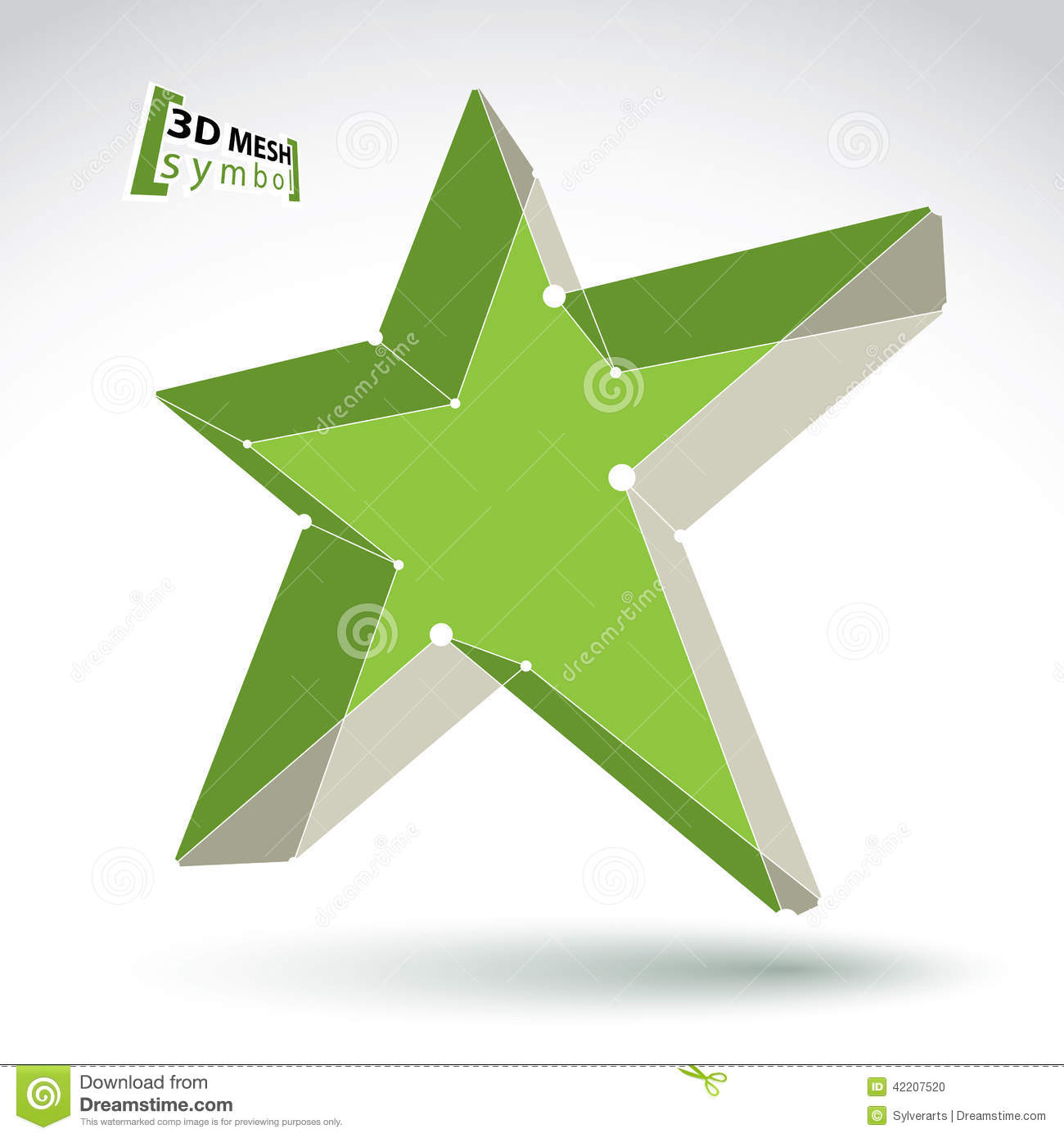 3d mesh green star sign  on white background, colorful e
