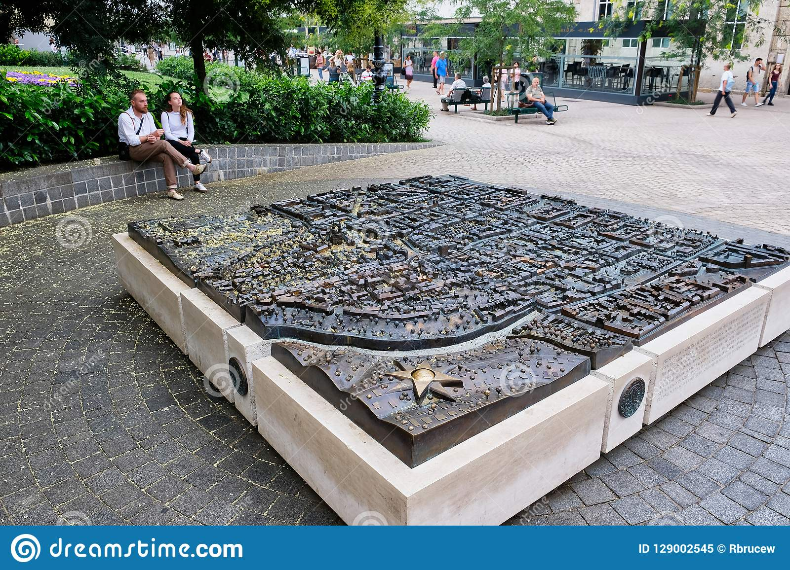 3D Metal Map Of Zagreb In City Square, Croatia Editorial Image ... on