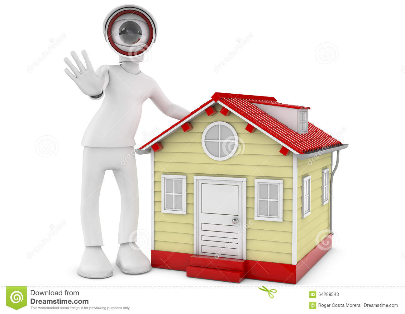 3d Metaphor, CCTV Camera With House. Stock Illustration - Image: 64289543