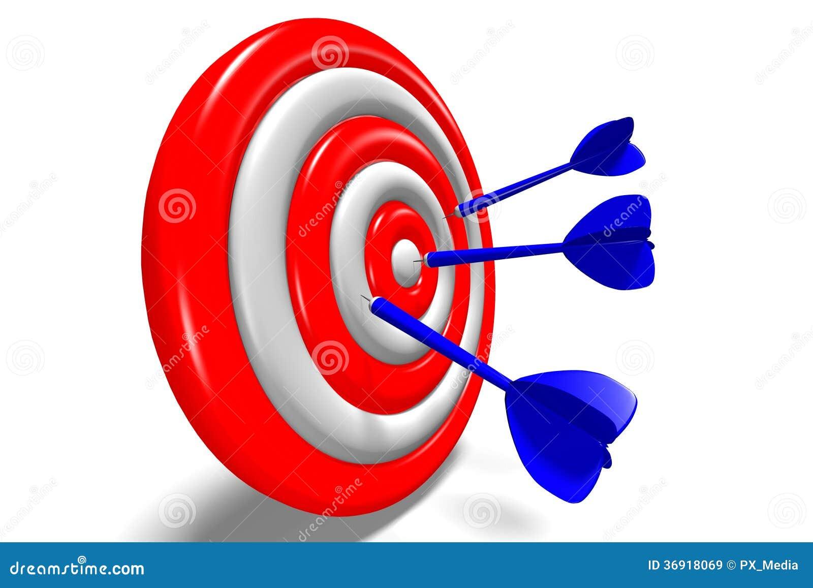 3D metaphors - aiming in target / darts...