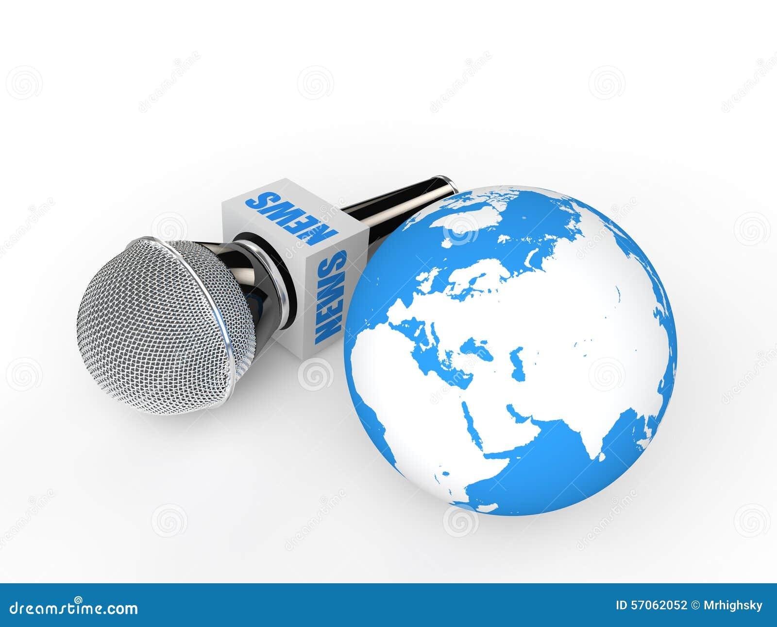 3d microfoon en aardebol