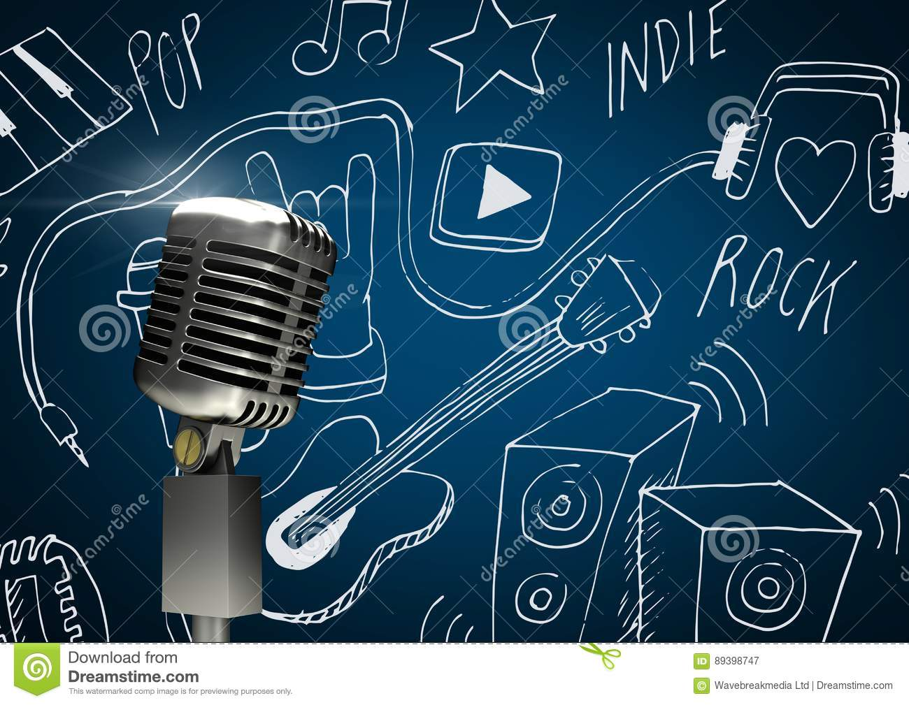 3d microphone against blue background with music icons drawings