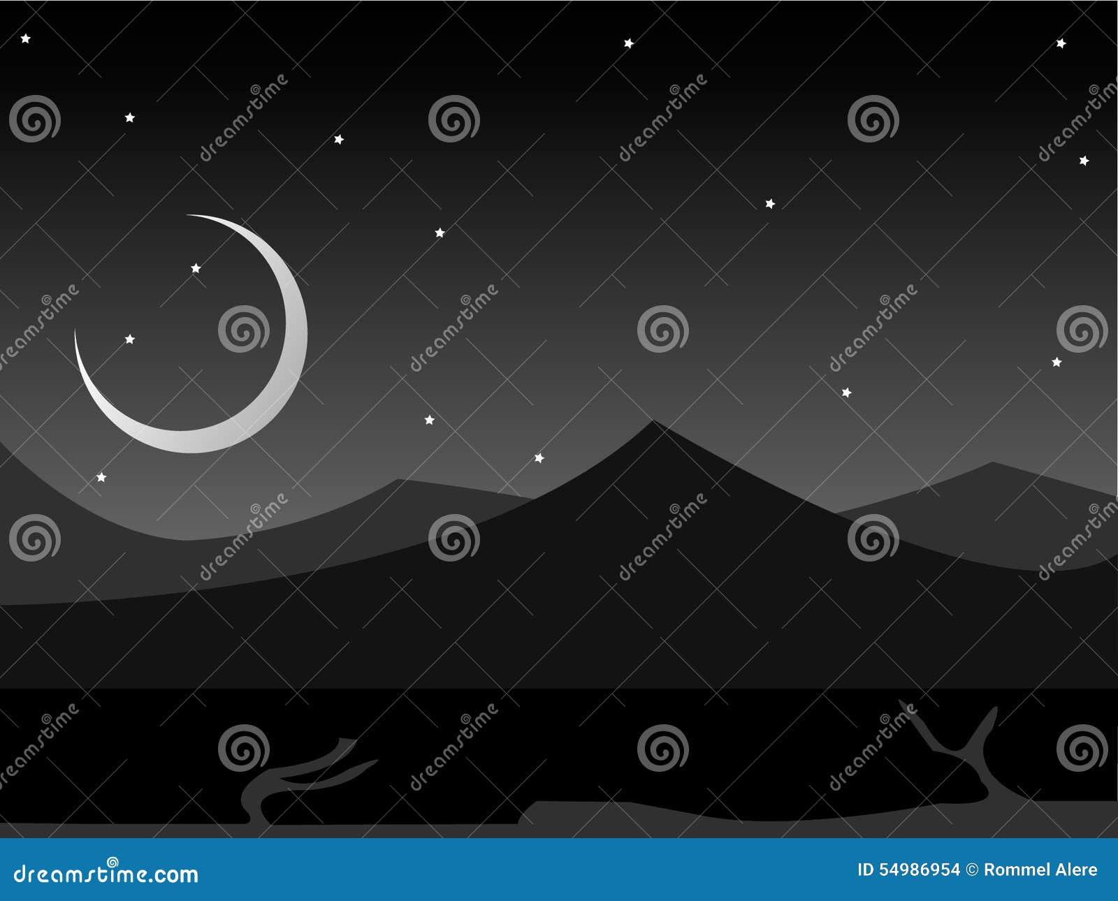 2D midnatta landskapbakgrund