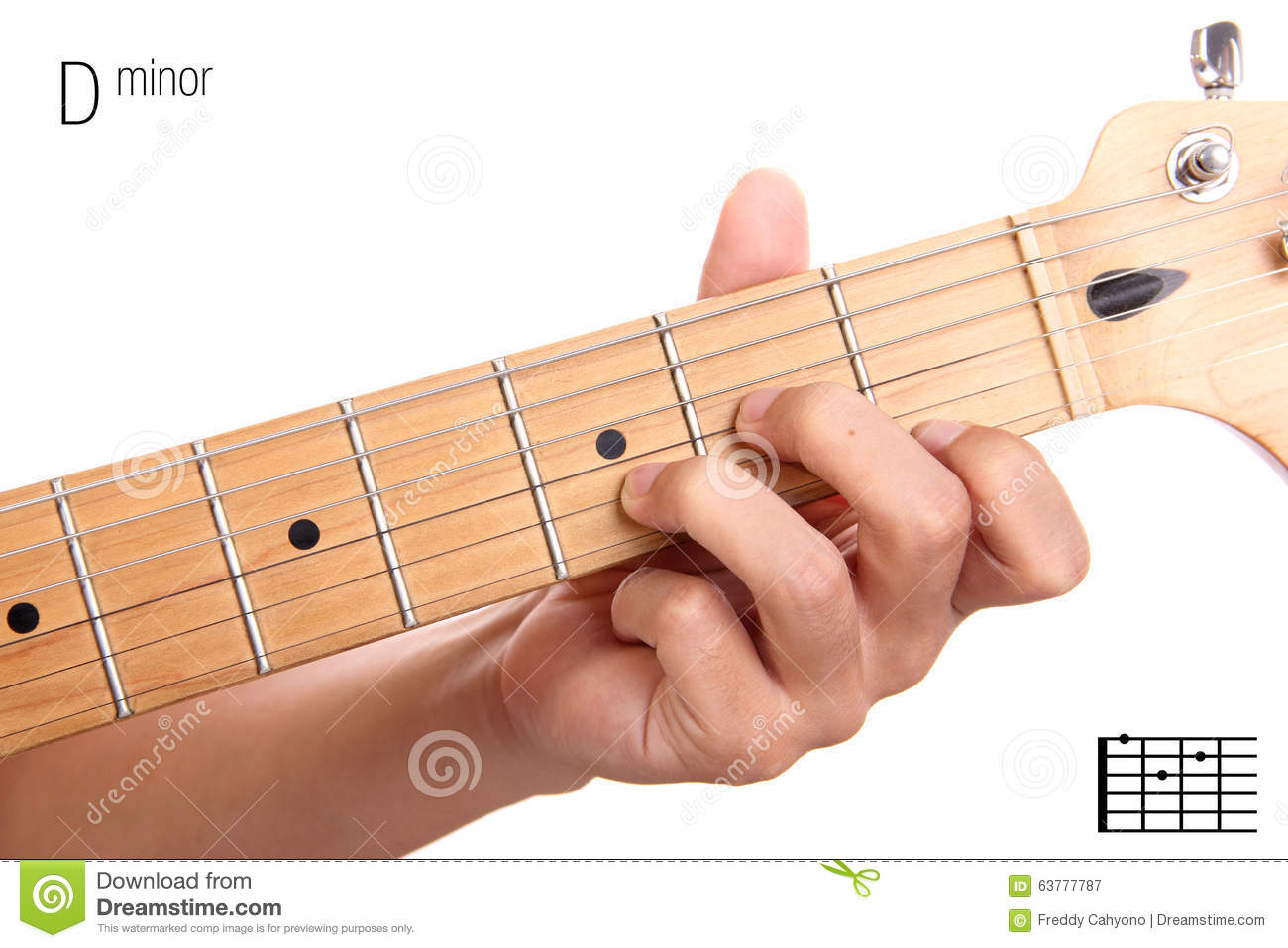 D Minor Guitar Chord Tutorial Stock Image Image Of Entertainment