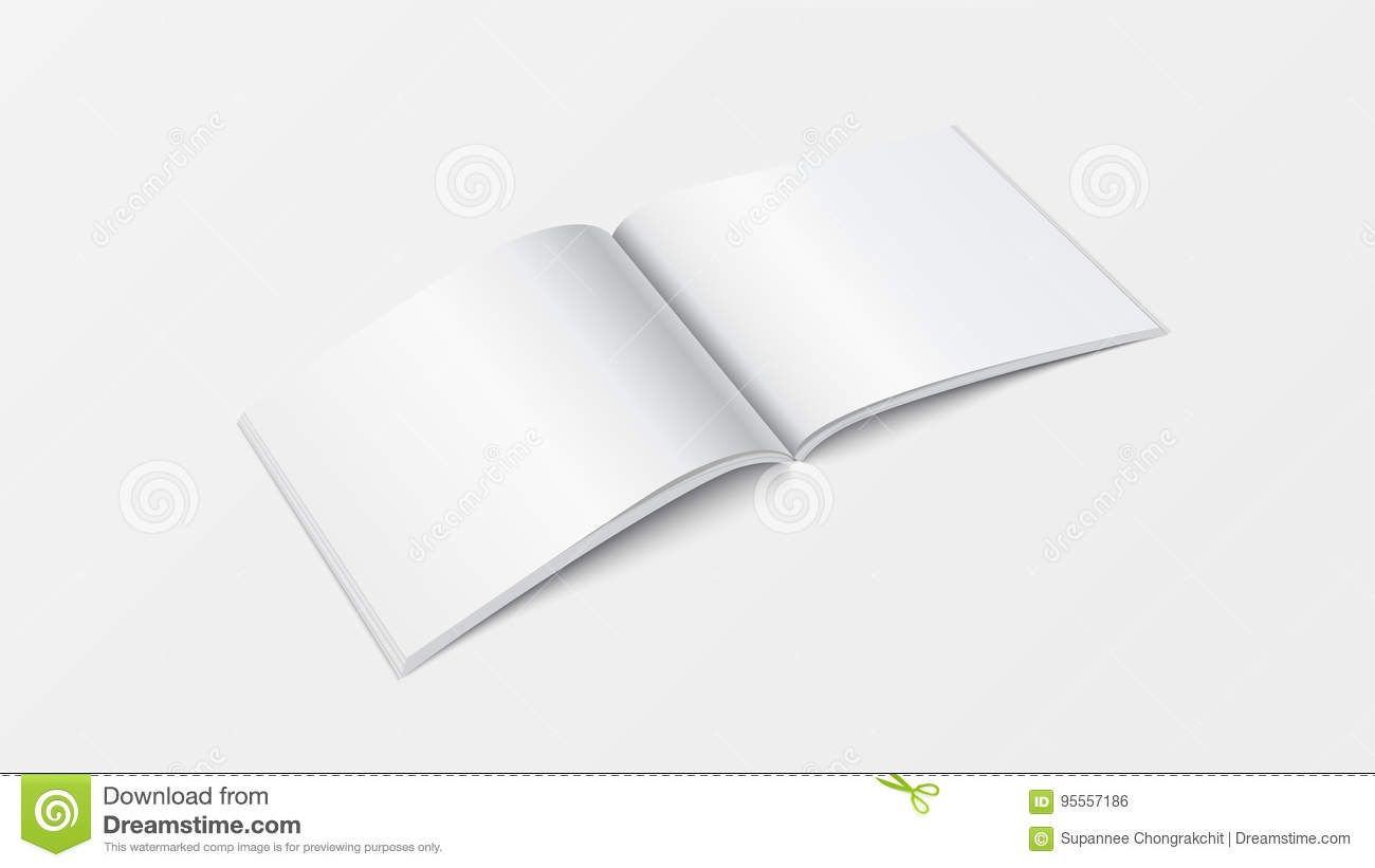 3d Mockup Open Book Template Perspective View Booklet Blank White