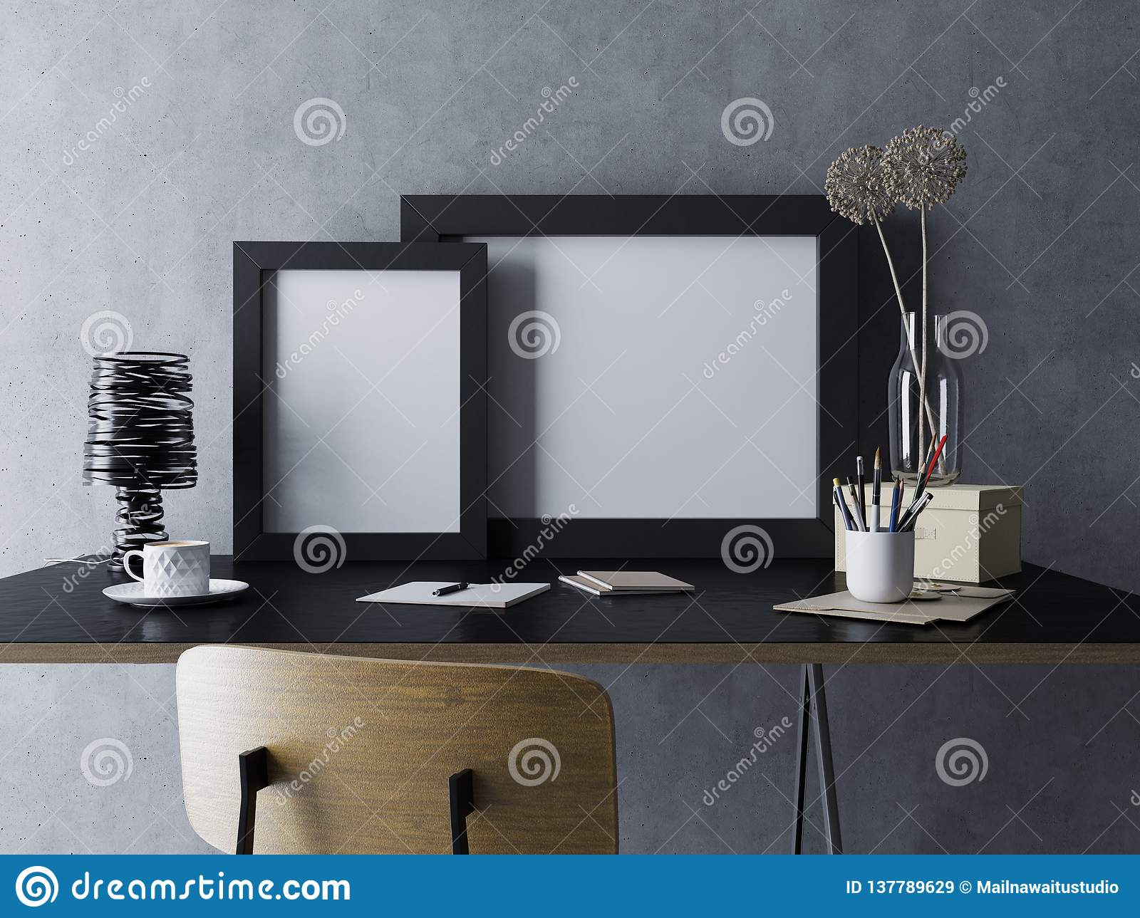 mockup render of two empty white poster template in black frame in cozy home office workplace interior in standing side by side