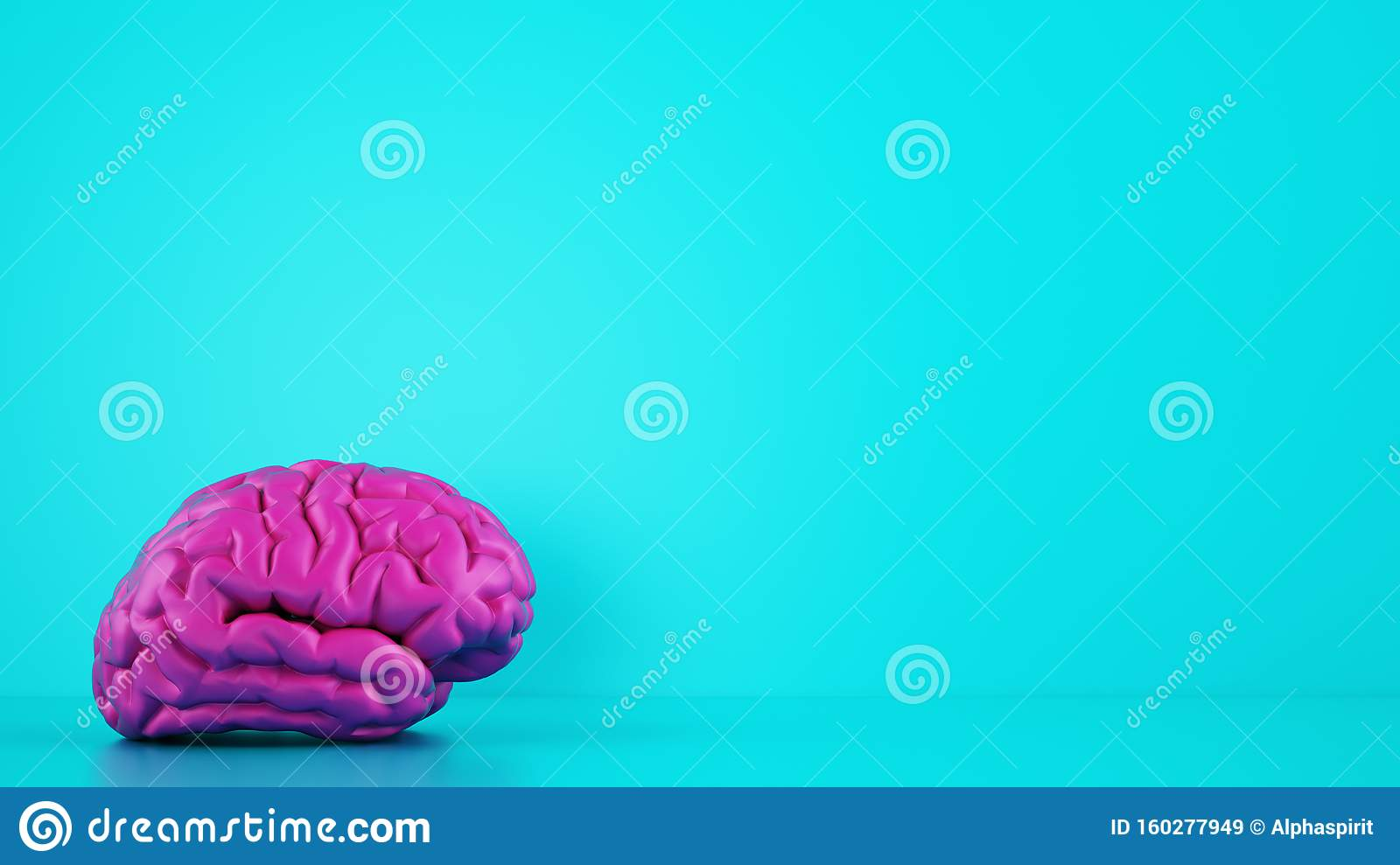Magenta color brain on cyan background. Medical concept. 3D Rendering