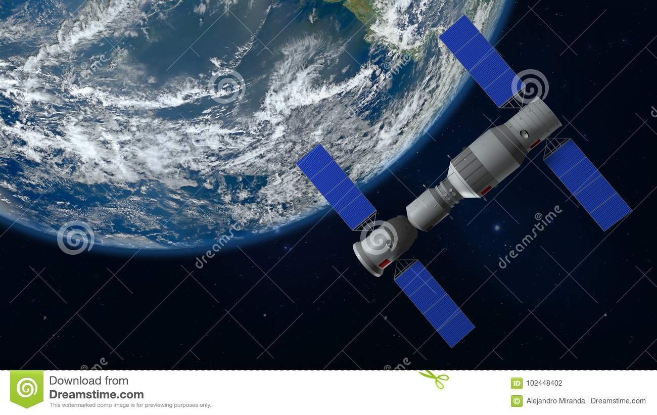 3D model of the Chinese space station Tiangong orbiting the planet Earth