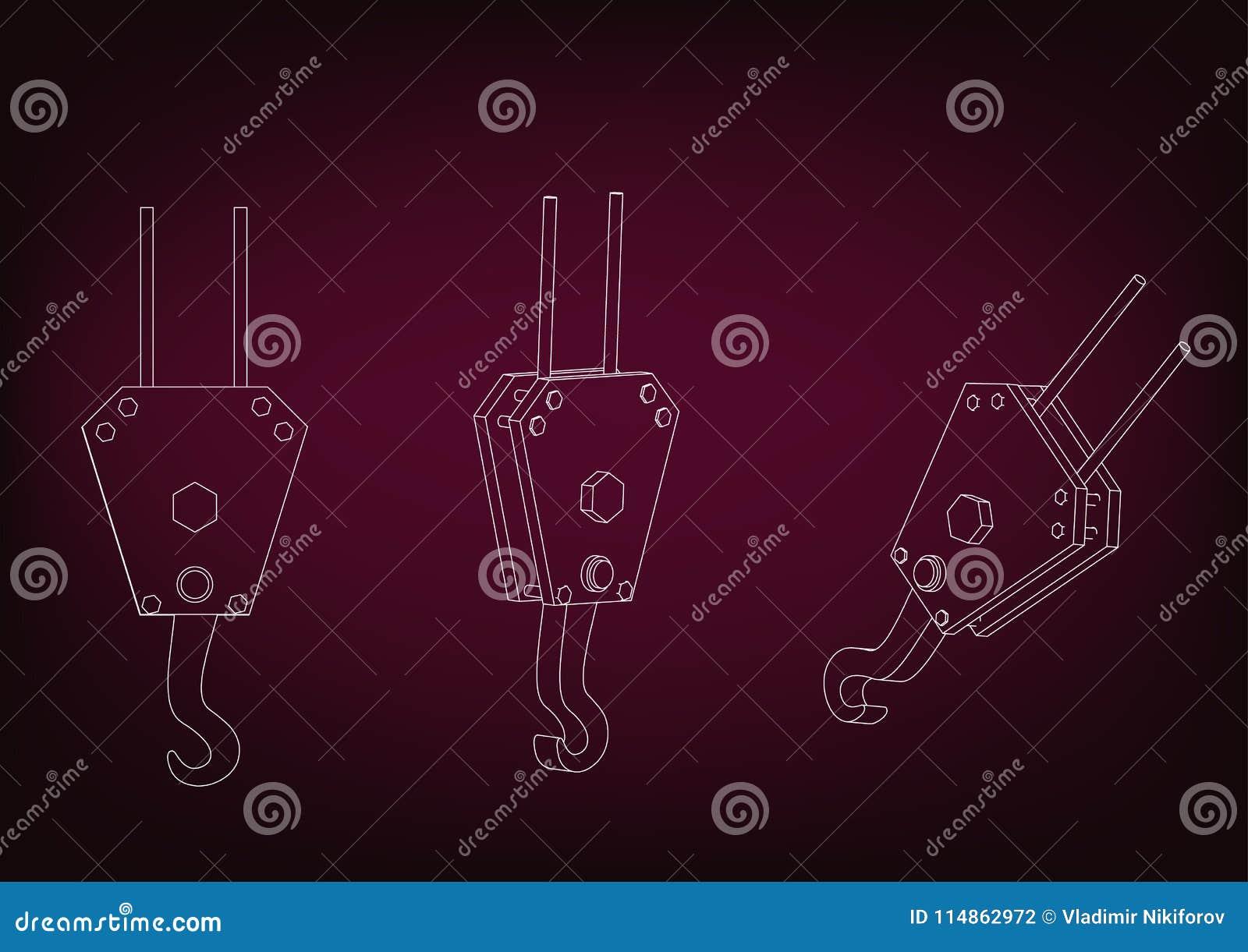 d model crane hook burgundy background drawing d model crane hook 114862972 3d model of a crane hook stock vector illustration of load 114862972