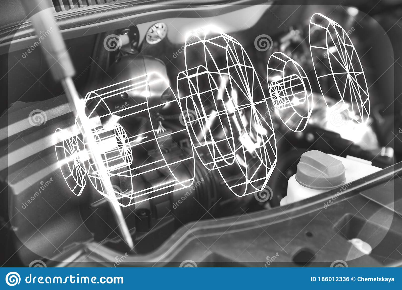 3d Model Of Detail And Car Engine Bay Stock Photo Image Of Automotive Geometric 186012336