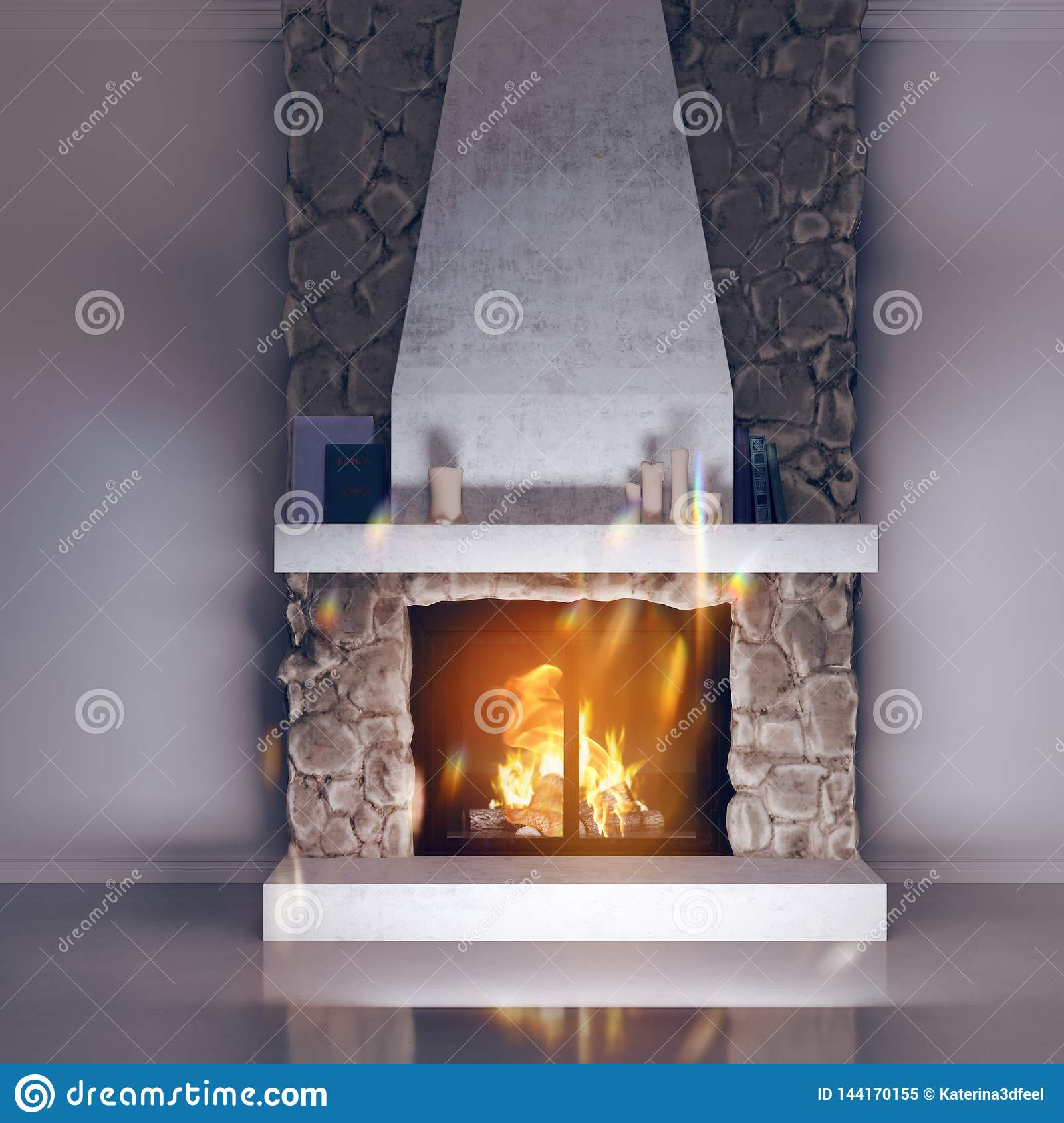 3d model of a fireplace made of stone. Fireside, chalet style in the interior.