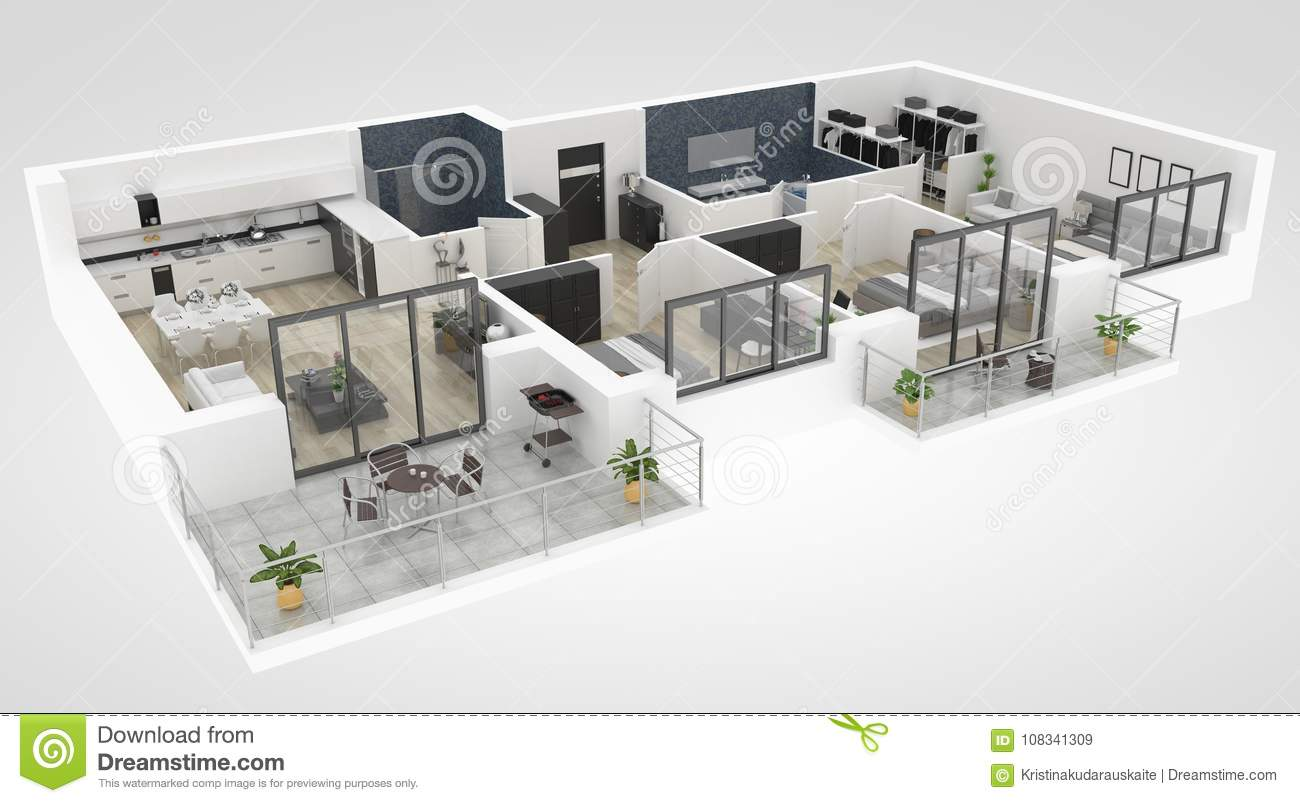 Floor Plan Of A House Top View 3D Illustration. Open Concept Living ...