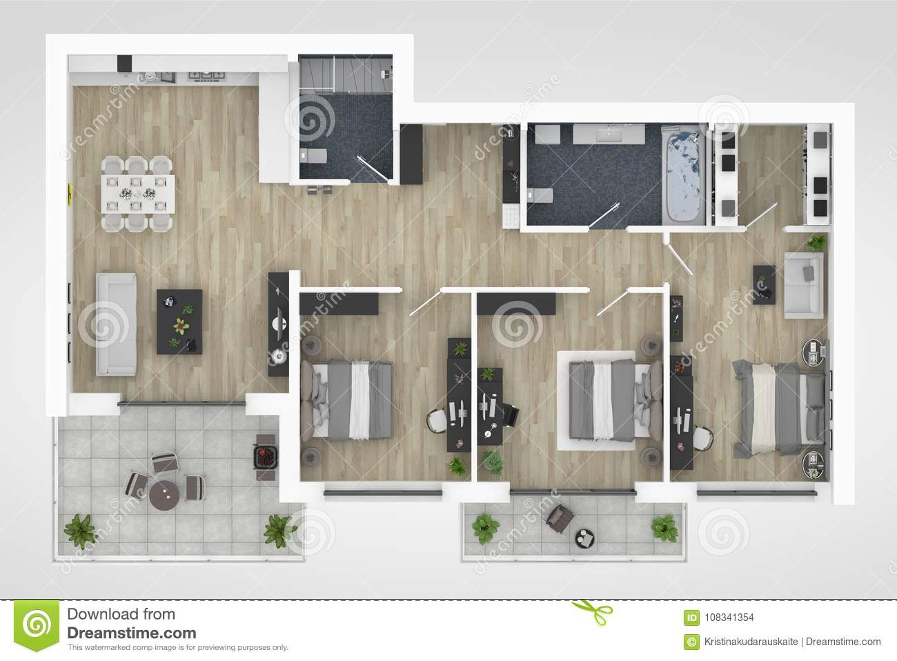 Floor Plan Of A House Top View 3D Illustration. Open Concept ...