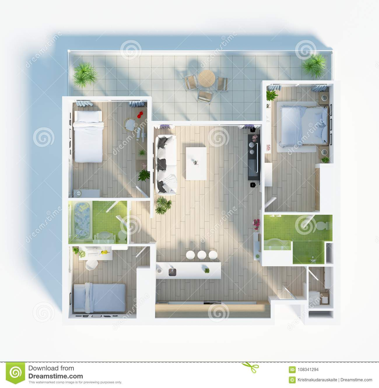 Floor Plan Of A House Top View 3D Illustration. Open