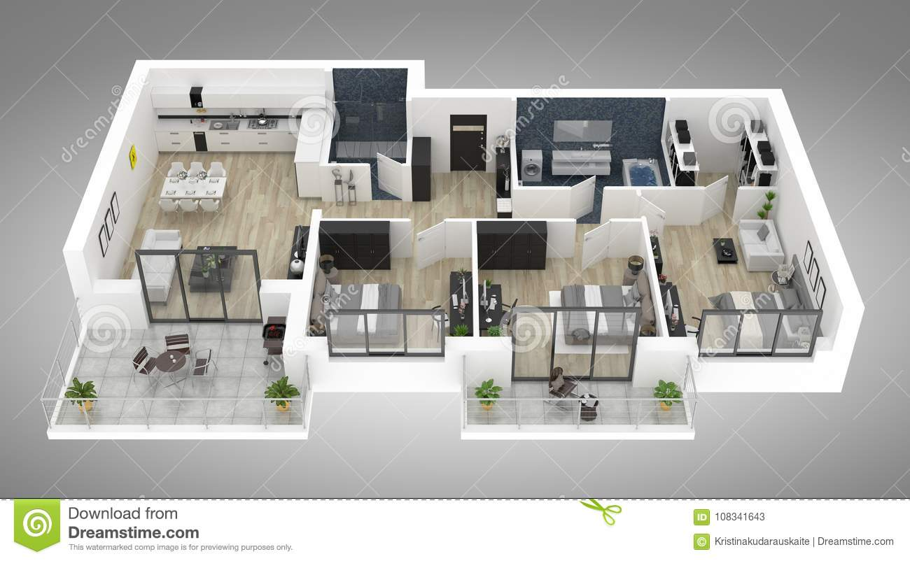 Floor Plan Of A House Top View 3d Illustration Open Concept Living