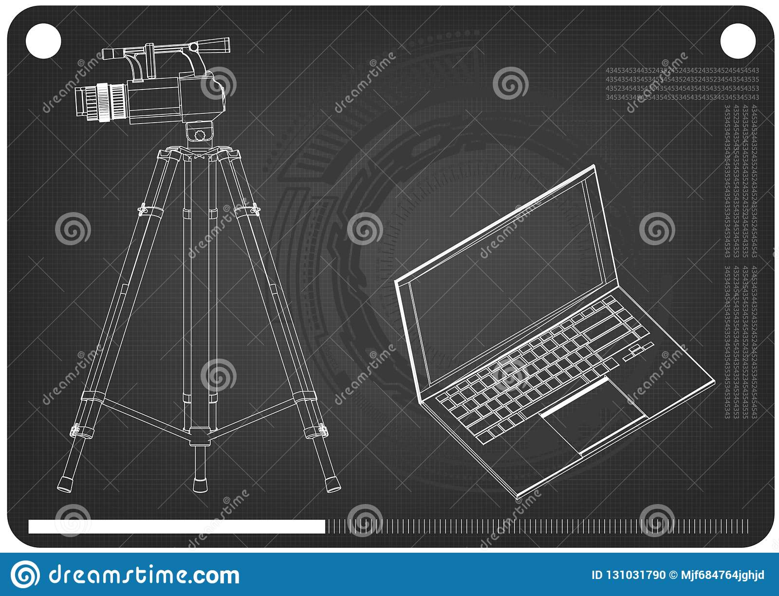 3d model of laptop and camcorder with a tripod