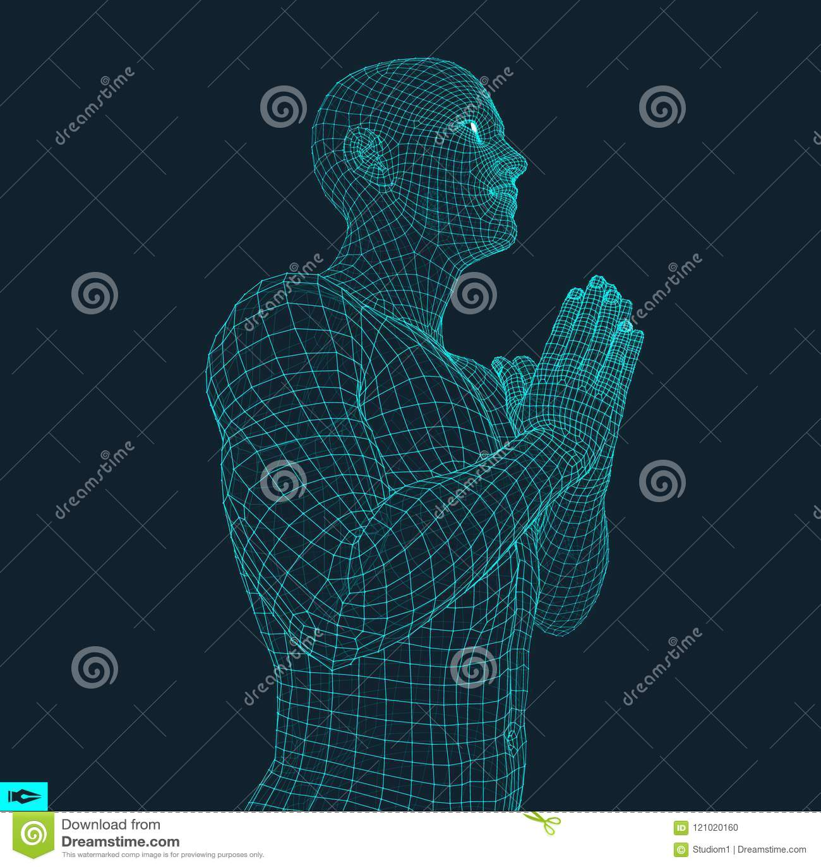 3D Model Of Man  Man Who Prays  Concept For Religion