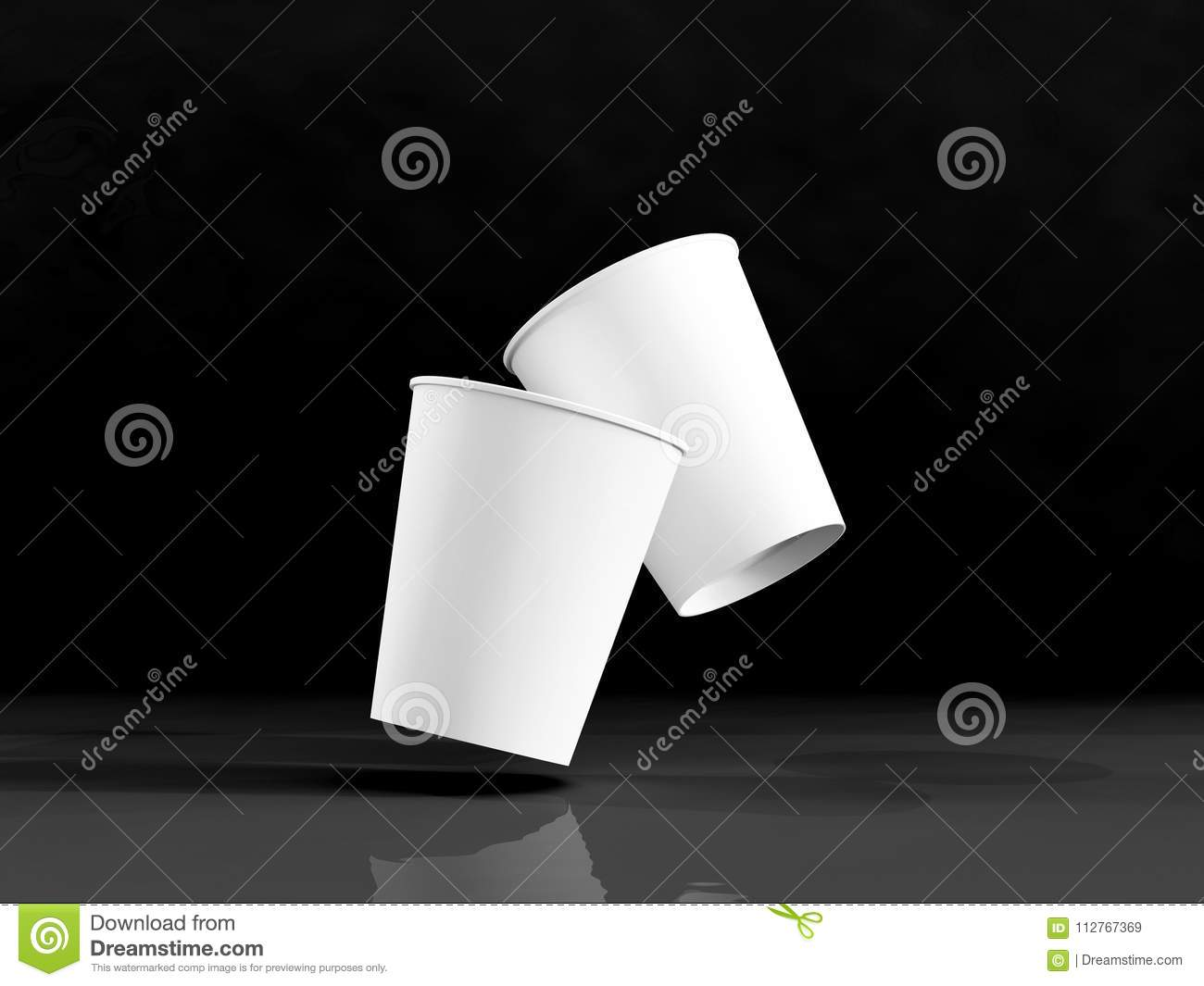 3d Model Of Paper Cups On The Plane Under Natural Light  Black B