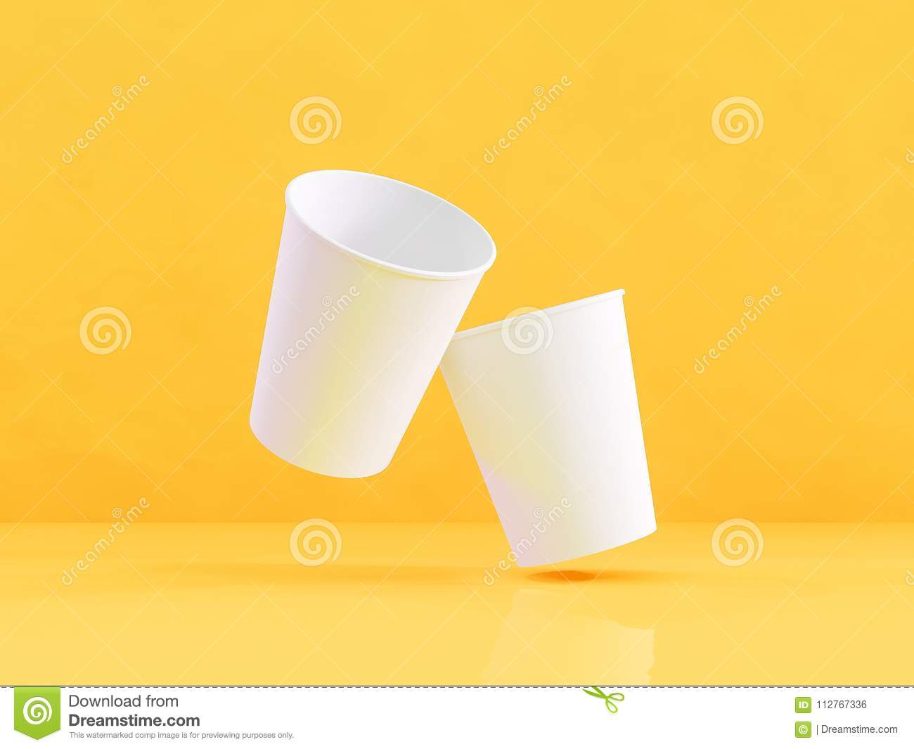 124c6adb225 3d model of paper cups on the plane under natural light. Yellow background.  3d renderer.