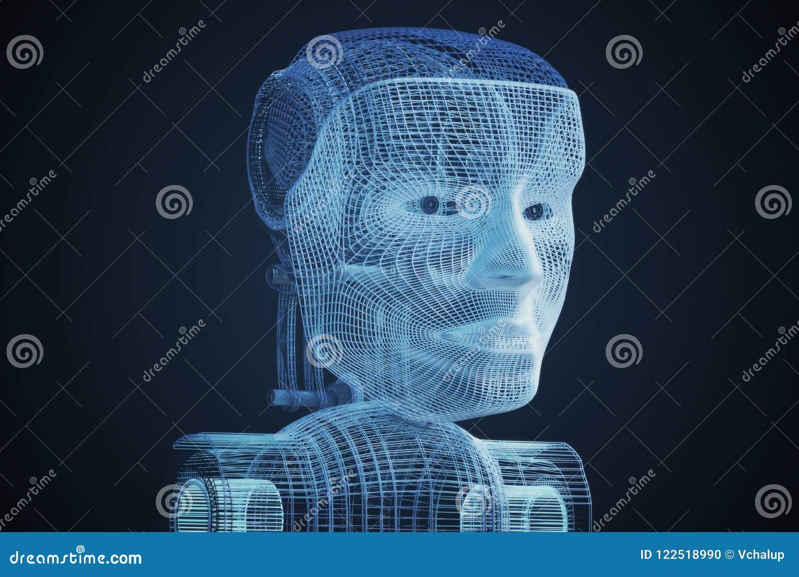 3D Model Of Robotic Head  3D Rendered Illustration Stock