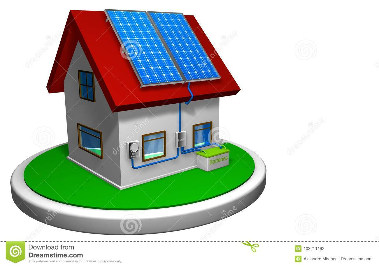 3d Model Of A Small House With A Solar Energy System Installed
